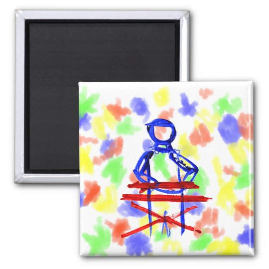 Keyboard player stick outline red blue cutout square magnet