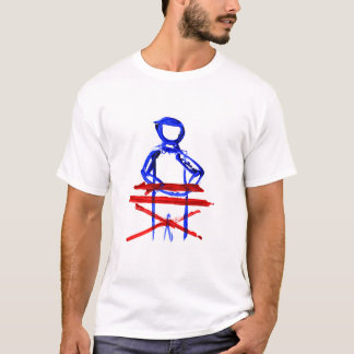 Keyboard player stick outline red blue cutout T-Shirt