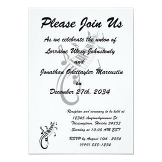 """keyboard scroll and notes black.png 5"""" x 7"""" invitation card"""