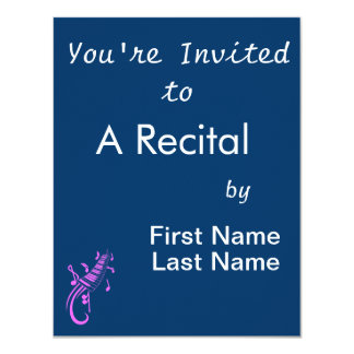 """keyboard scroll and notes pink.png 4.25"""" x 5.5"""" invitation card"""