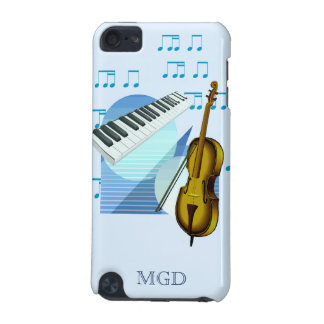 Keyboard strings notes on shades of blue iPod touch (5th generation) case