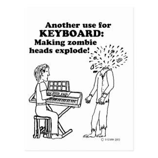 Keyboard Zombie Explode Postcard