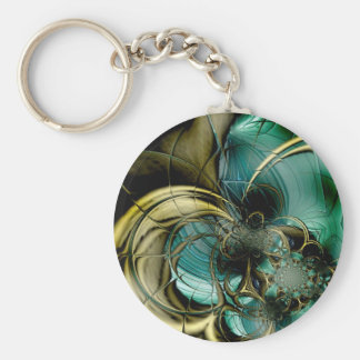 Keychain Abstract Art Metal Gold Teal Glass