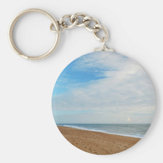 KeyChain: Beach, Sky and Footprints Basic Round Button Key Ring