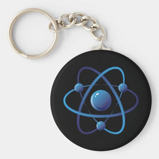 Keychain: Blue atom Basic Round Button Key Ring
