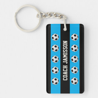 Keychain, Blue & Black, for Soccer Coach, Player Double-Sided Rectangular Acrylic Key Ring