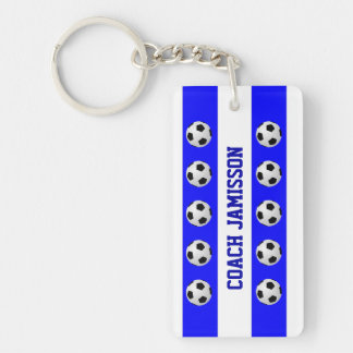 Keychain, Blue & White, for Soccer Coach, Player Single-Sided Rectangular Acrylic Key Ring