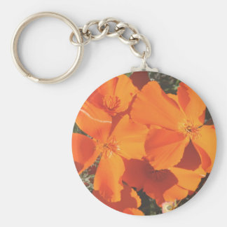 "Keychain, ""Californias Poppies"" 3484 Basic Round Button Key Ring"