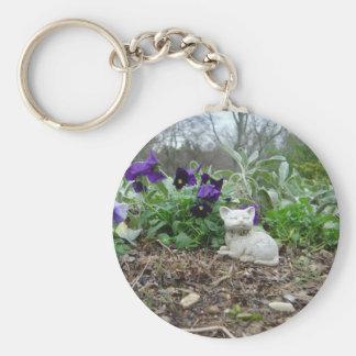 Keychain Cat sculpture in the herb garden