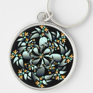 Keychain, Cute Floral Design, Silver Grey, Orange Key Ring
