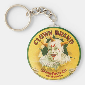 Keychain design Vintage Ad Advertising Clown Fruit