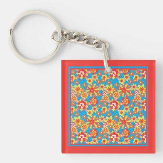 Keychain: Ditzy Orange Flowers on Blue Background