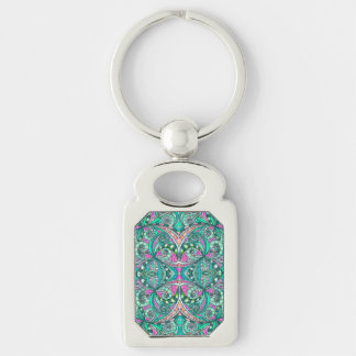 Keychain Drawing Floral Silver-Colored Rectangle Key Ring
