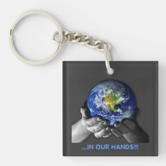 KEYCHAIN- EARTH HANDS Single-Sided SQUARE ACRYLIC KEY RING