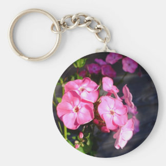 Keychain-Flowers-Pink Flowers 2 Basic Round Button Key Ring