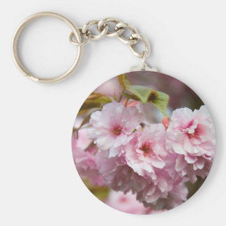 Keychain-Flowers-Pink Flowers 4 Basic Round Button Key Ring
