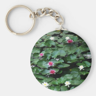 Keychain-Flowers-Water Lilies Basic Round Button Key Ring