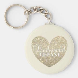 Keychain - Glitter Heart Bridesmaid Name