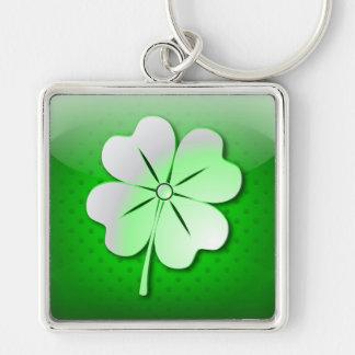 Keychain glossy green quatrefoil St. Patrick's Day