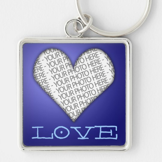 Keychain Love Heart Blue Your Photo Here