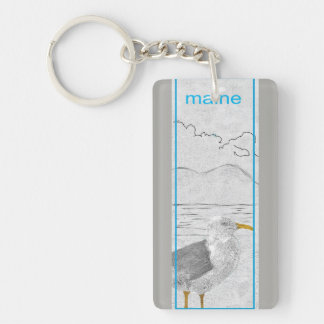 Keychain Maine Seagull Acadia National Park Sketch