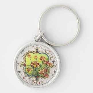 Keychain-Miniature Marigolds Silver-Colored Round Key Ring