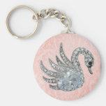Keychain Pink Jewel Swan (017-003)