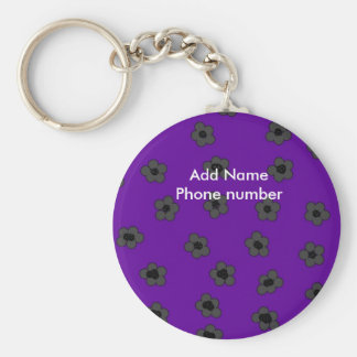 Keychain Purple Flower Add Name Phone Keychains