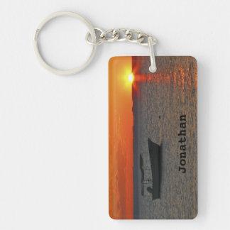 Keychain, Rectangular Double Sided Fishing Boat Key Ring