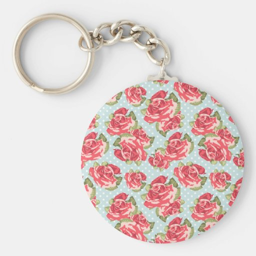 Keychain Shabby Chic Roses Floral Vintage