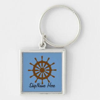 Keychain - ship s wheel with name