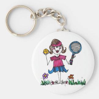Keychain -Stick Tennis Girl