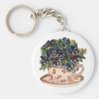 Keychain Vintage Floral Cup Key Chain