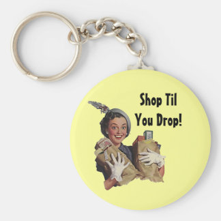 Keychain Vintage Happy Shopper Shop Til You Drop