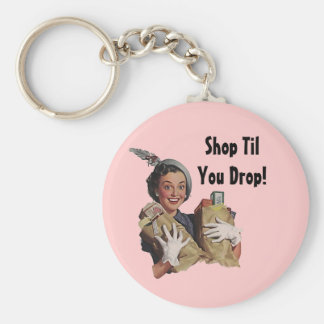 Keychain Vintage Happy Shopper Shop Til You Drop