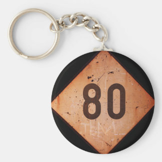 Keychain: Vintage Railroad 80 Speed Train Sign Basic Round Button Key Ring