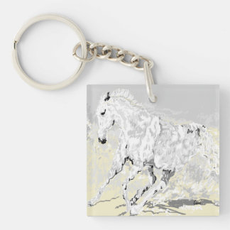 Keychain White Stallion in Motion