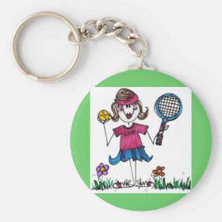 Keychain with background -Stick Tennis Girl