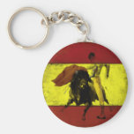 Keychain with Bullfight on Dirty Spanish Flag
