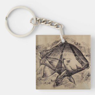 Keychain with Fishes: Black & White design