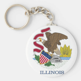 Keychain with Flag of Illinois State