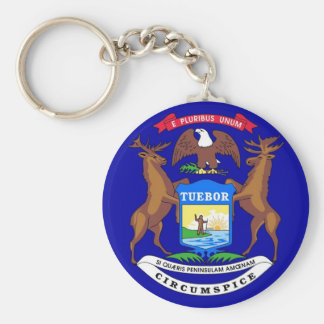 Keychain with Flag of Michigan State
