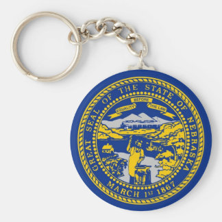 Keychain with Flag of Nebraska State