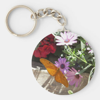 keychain with orange butterfly and flowers
