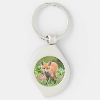 keychain with photo of fox kit Silver-Colored swirl key ring