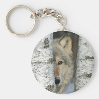 Keychain with photo of gray wolf in birch trees