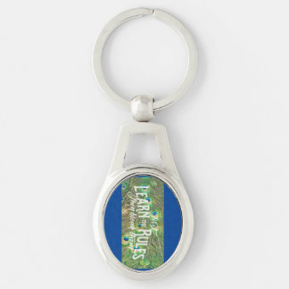 keychain with photo of peacock feathers & saying Silver-Colored oval key ring