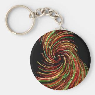 Keychain with swirl of lights.