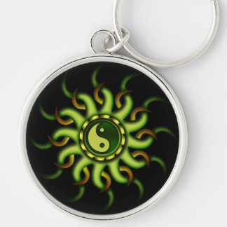 Keychain, Yin Yang Sun, Gold Green Key Ring