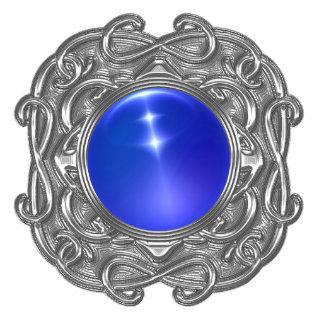 Keychains Photo Sculpture Blue Silver Jewel